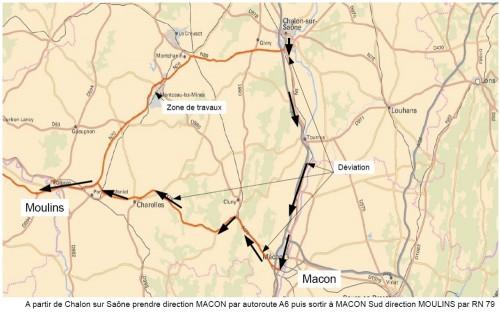 Déviation sens Chalon sur Saône / Paray le Monial