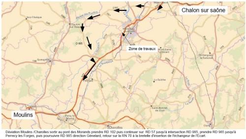 Les usagers circulant sur la RN 70 dans le sens Chalon-sur-Saône / Paray-le-Monial