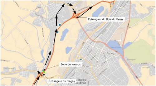 Les usagers arrivant à l'échangeur du Bois-du-Verne seront déviés par la RD 57