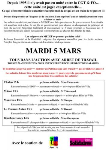Appel à l'action le 5 Mars 2013